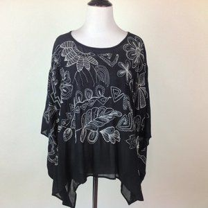 Chicos Top Womens M/L Embroidered Poncho Boho